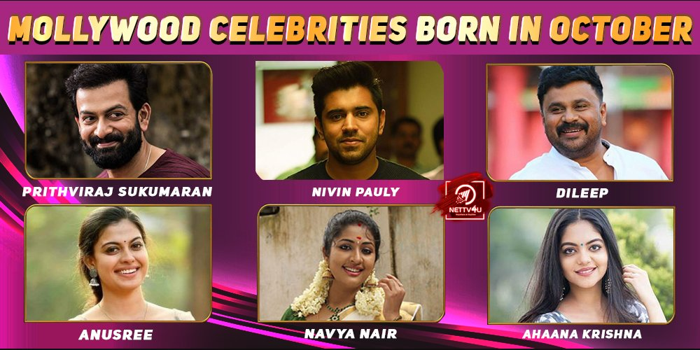 Top Mollywood Celebrities Who Were Born in October