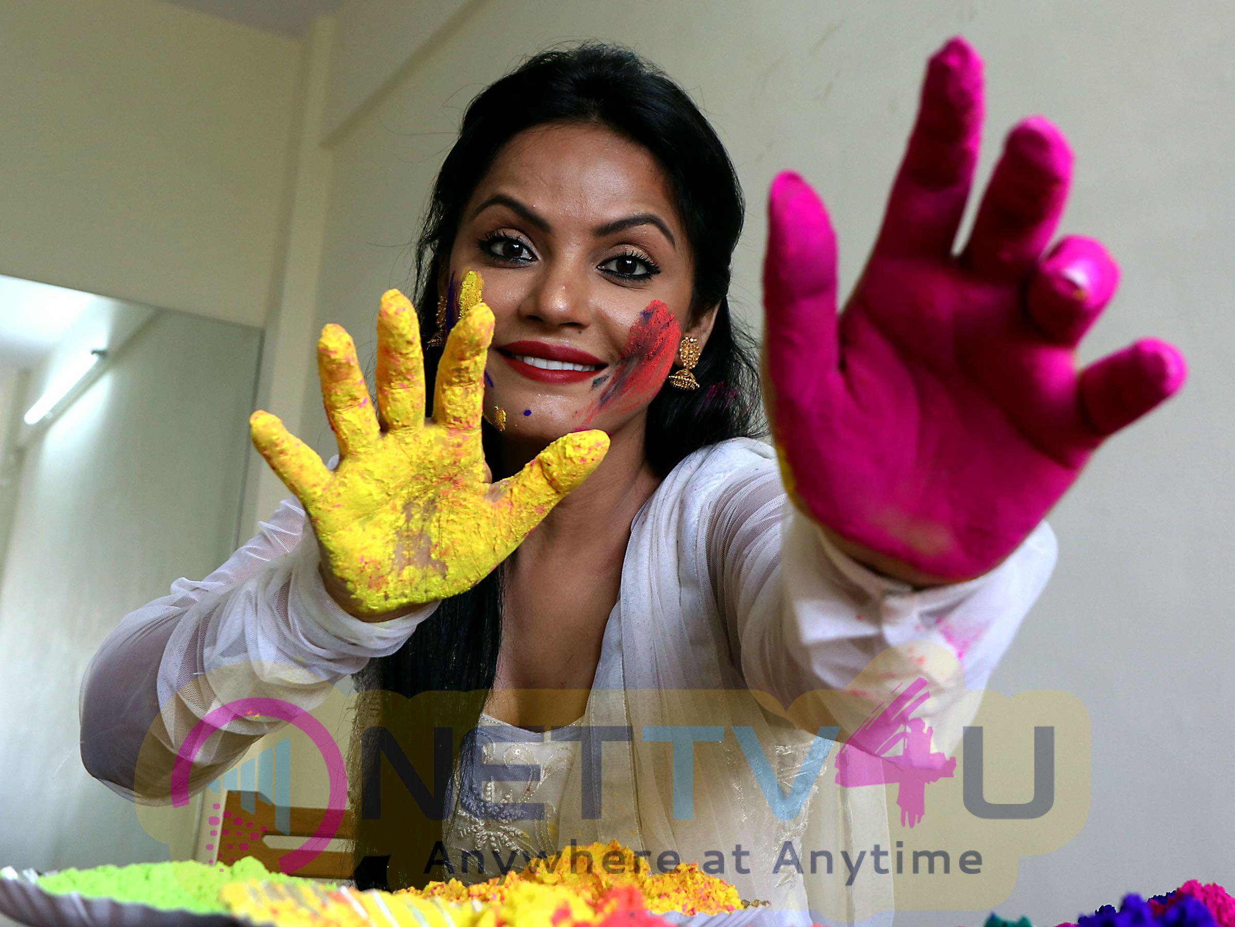 Actress Cum Producer Neetu Chandra In A Dry Holi Celebration Cute Photo Shoot Hindi Gallery