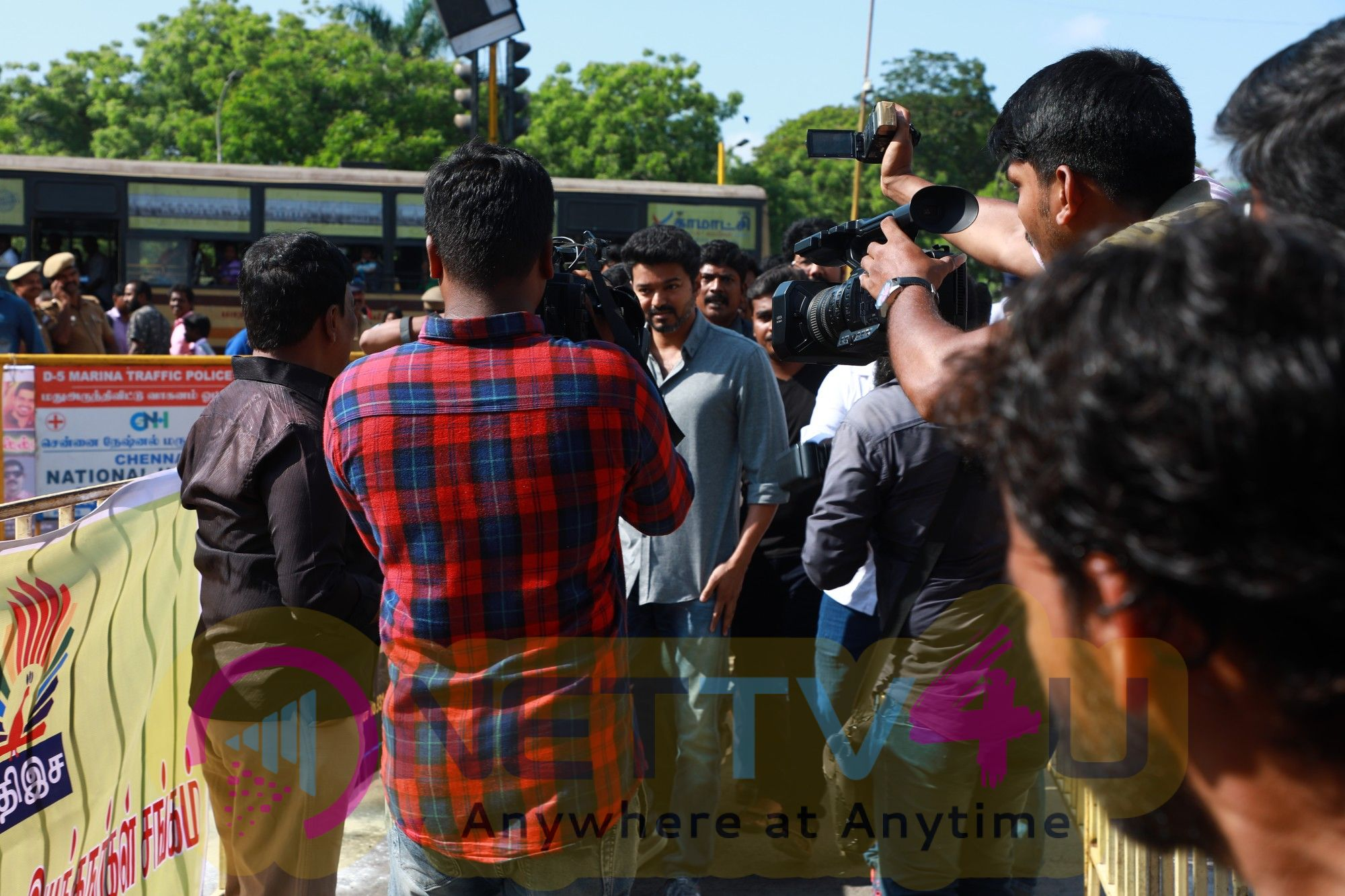 Actor Vijay At Nadigar Sangam Protest For Cauvery Issue Images Tamil Gallery