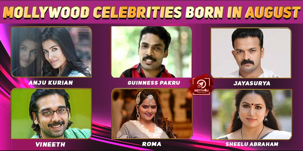 Top Mollywood Celebrities Who Were Born in August