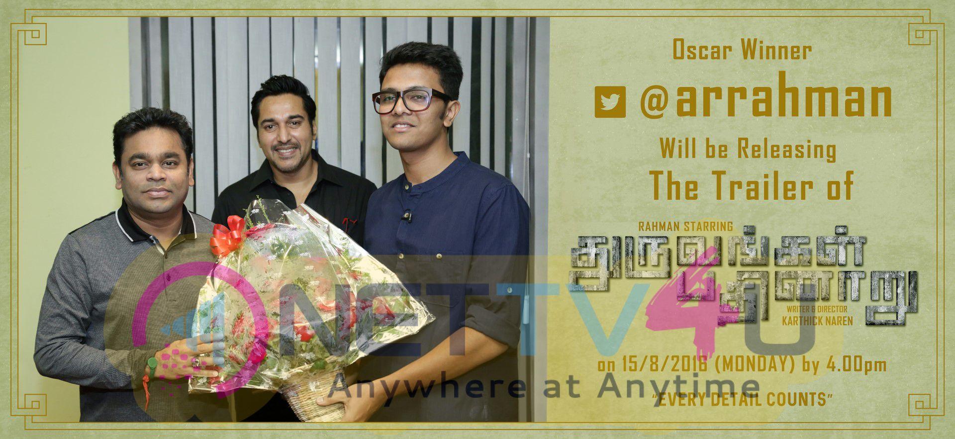 AR Rahman Releasing The Trailer Of Dhuruvangal Pathinaaru Movie Poster Tamil Gallery