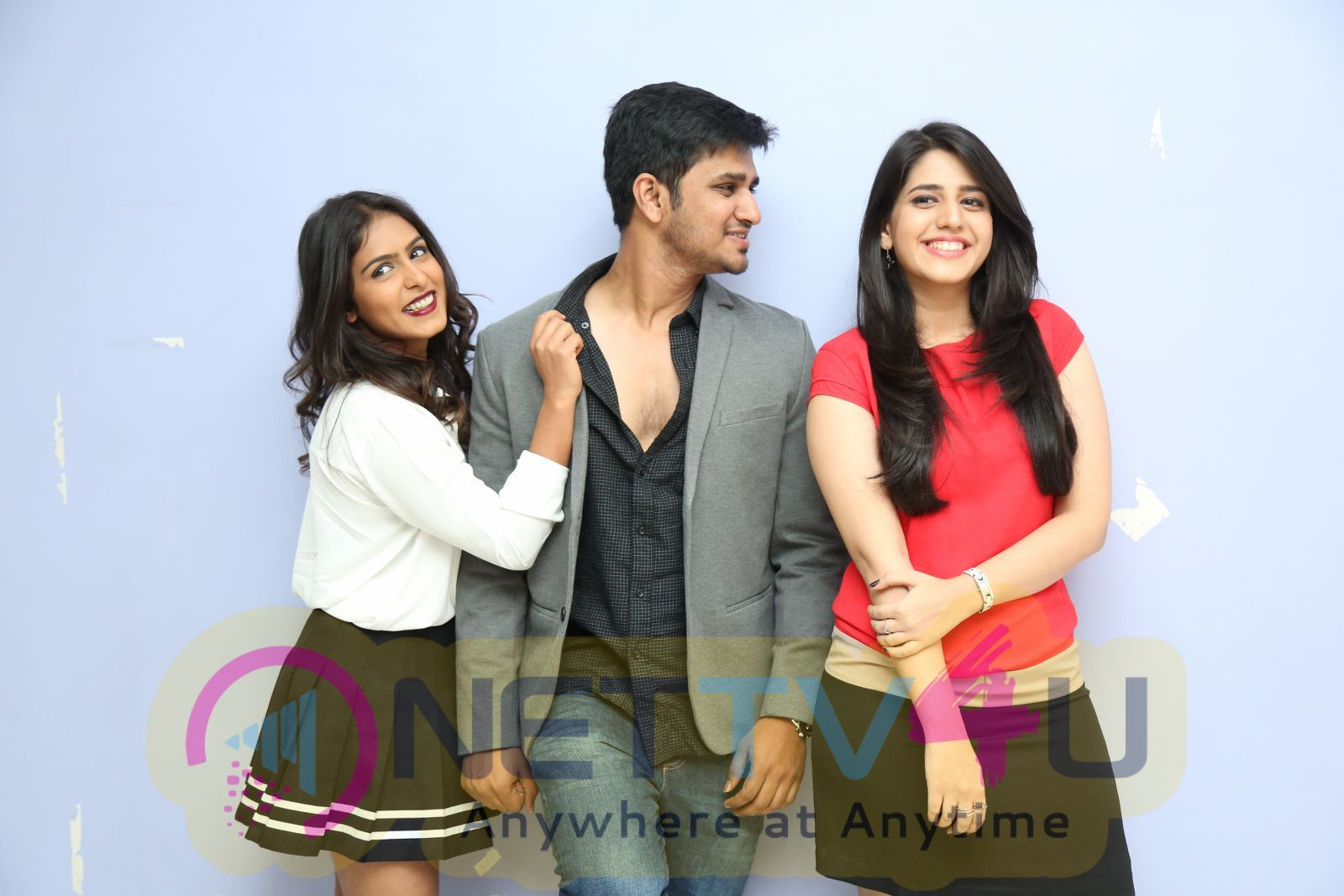 Kirrak Party Movie Hero Nikhil Siddharth With Heroines Simran Pareenja & Samyuktha Hegde Images