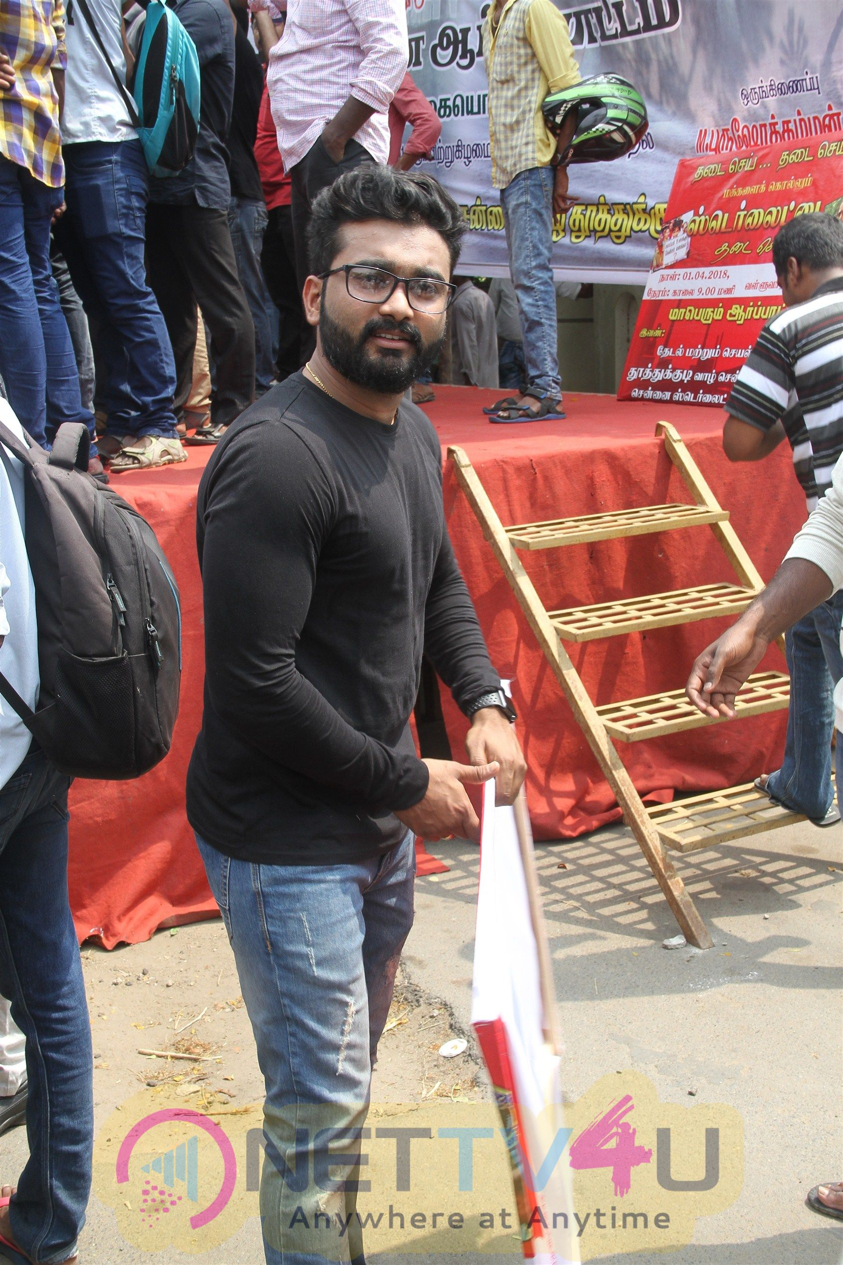 Actor Prabha Protesting Against The Sterlite Copper Plant Stills