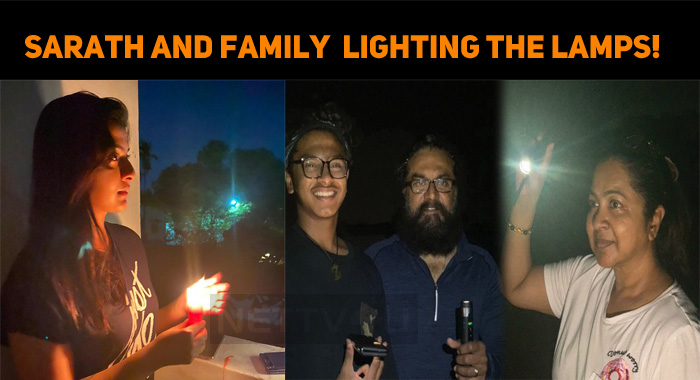 Sarathkumar And Family About Lighting The Lamps..