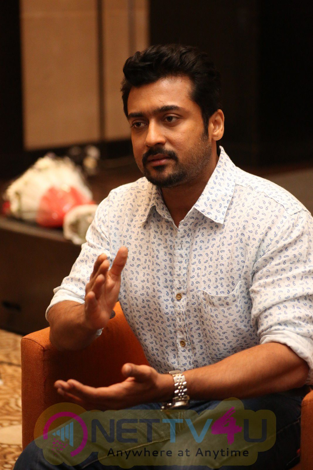Six Pack Actor Suriya's Stylish Stills At S3 Interview