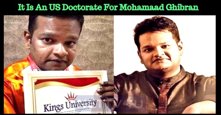 It Is An US Doctorate For Ghibran!