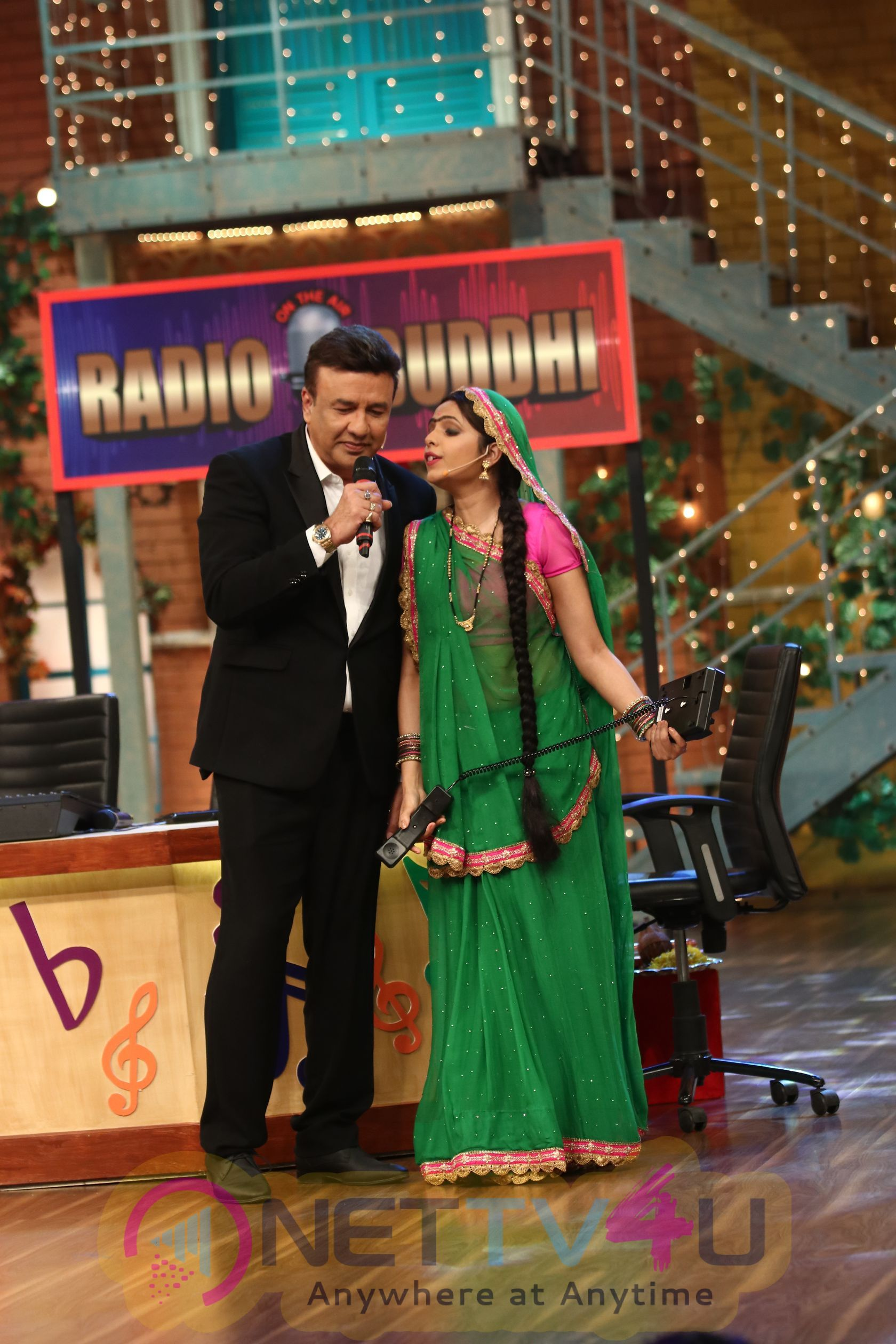 Anu Malik, Altaf Raja And Raveena Tandon On The Set The Drama Company Stills