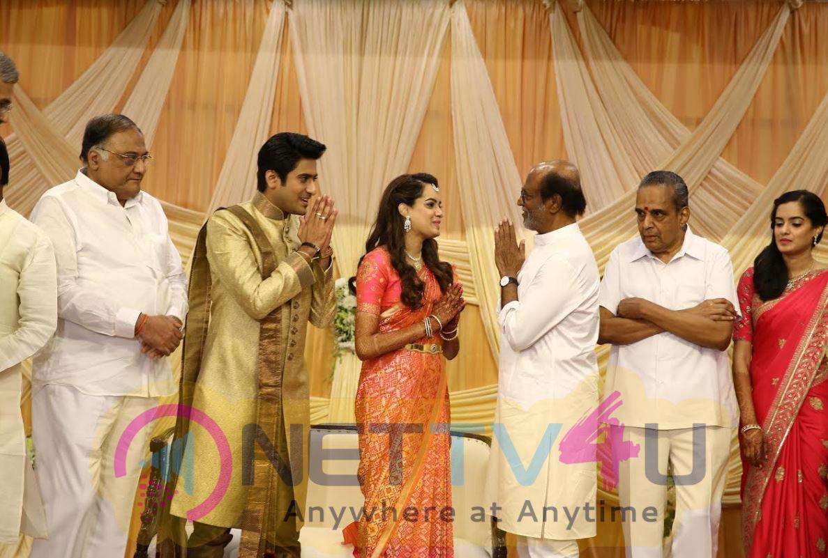 Super Star Rajinikanth At AVM Family Wedding Function Photos
