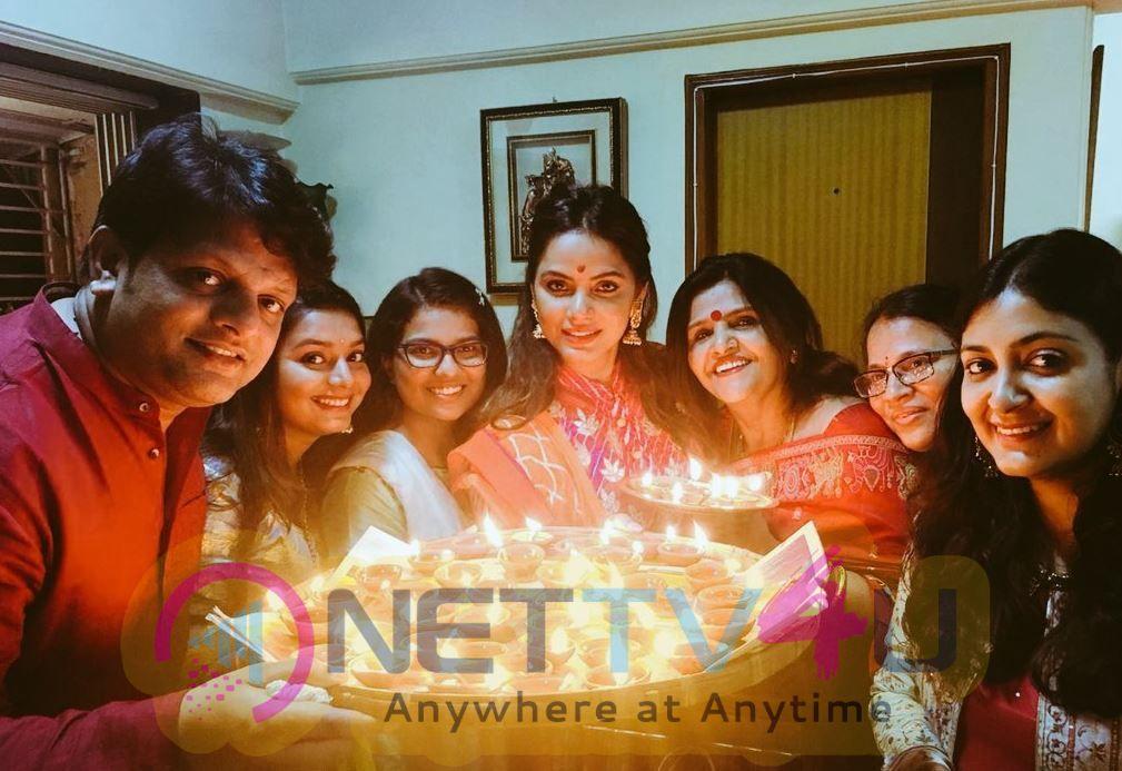 Actress Neetu Chandra Celebrates Diwali With Her Family Stills
