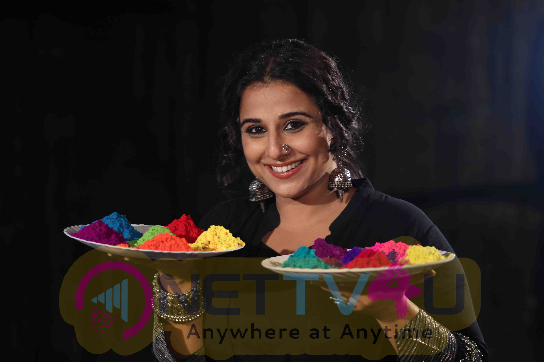 Vidya Balan Holi Celebrations During Promotion Of Her Film Begum Jaan Beautiful Photos