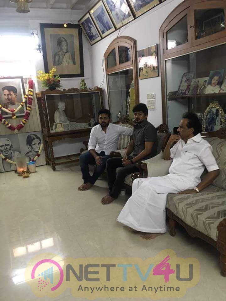 Actor Karthi Met M.K.Stalin In His House Pics