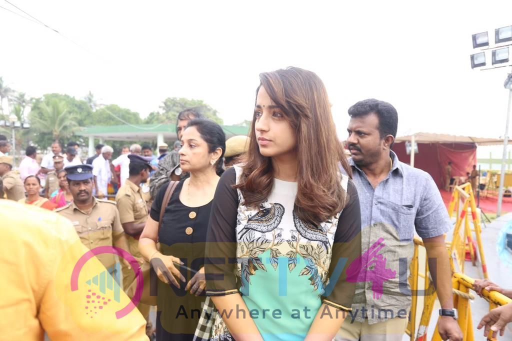 Actress Trisha At Amma Memorial Paying Her Her Homage To Our Beloved Amma