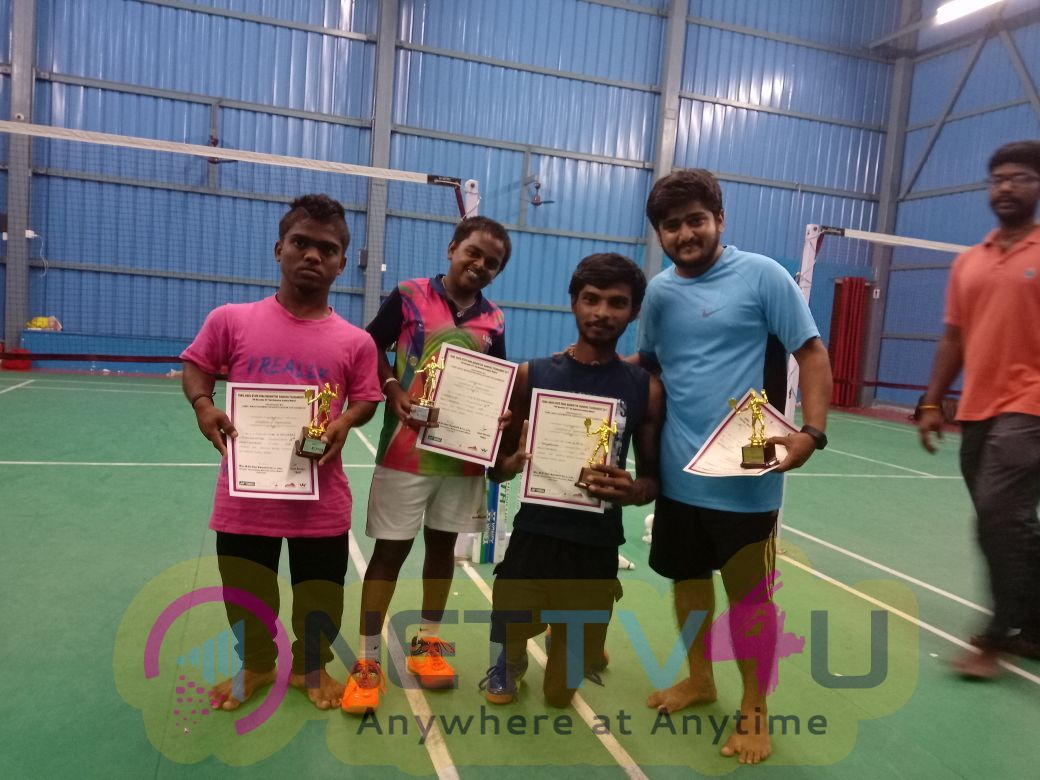 Actor Ambani Shankar Won Gold Medal In Tamilnadu State Para Badminton Ranking Tournament Pics