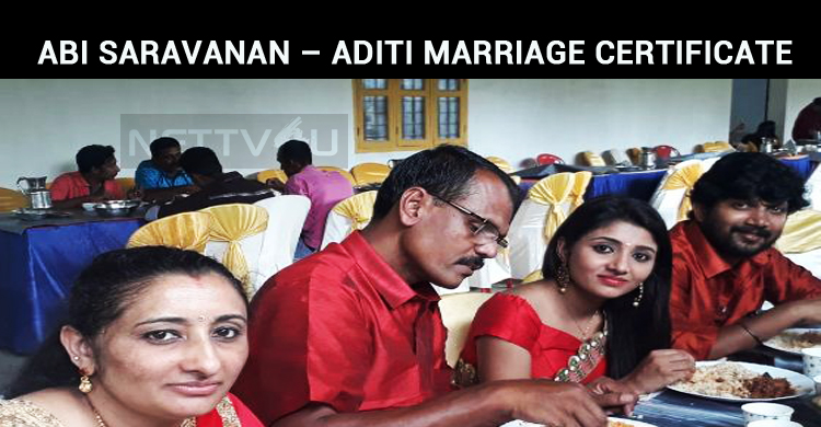 Abi Saravanan – Aditi Menon Marriage Certificate Is Out!