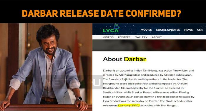 Darbar Release Date Confirmed?