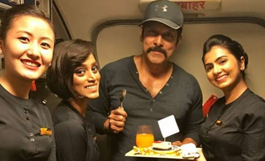 Airhostesses Give A Pleasant Surprise To Vikram