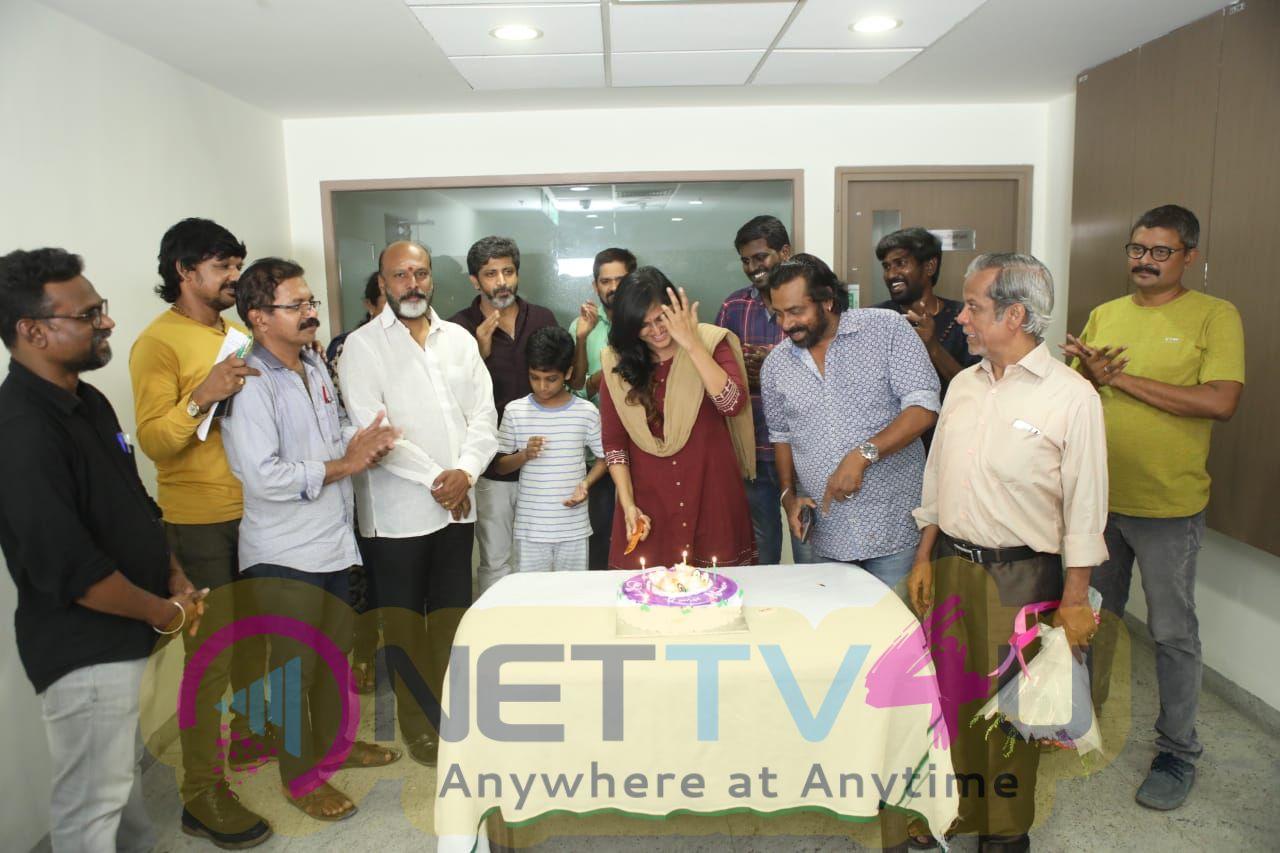Actress Remya Nambeesan Celebrate Her Birthday With Tamilarasan Movie Team Pics