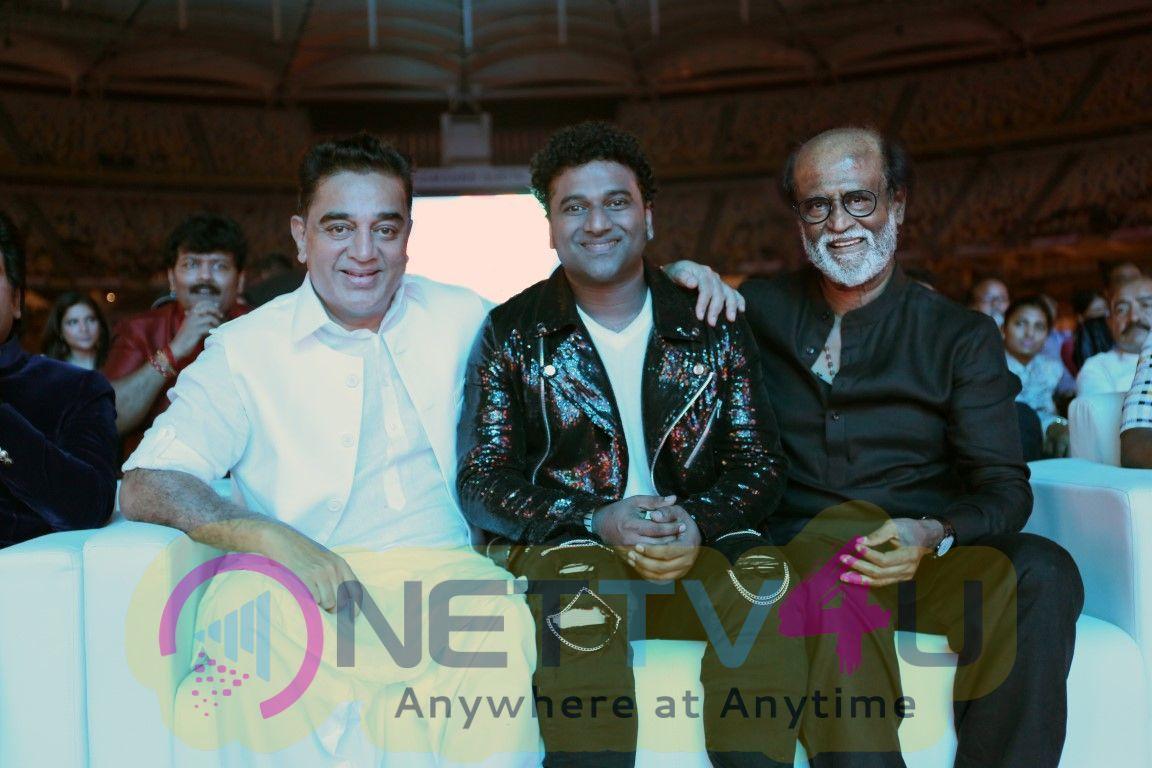 Music Director Devi Sri Prasad With Kamal Hassan And Rajinikanth Photos