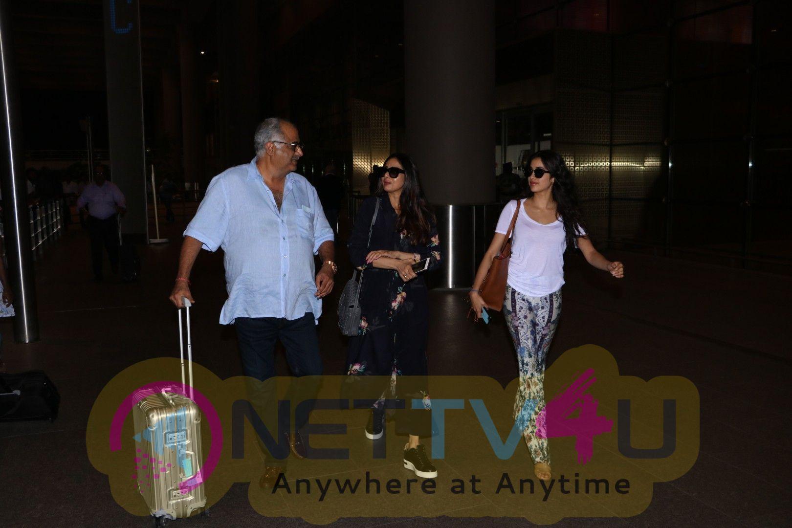 Ishaan Khattar With Family And Malavika Mohanan At Airport Stills Hindi Gallery