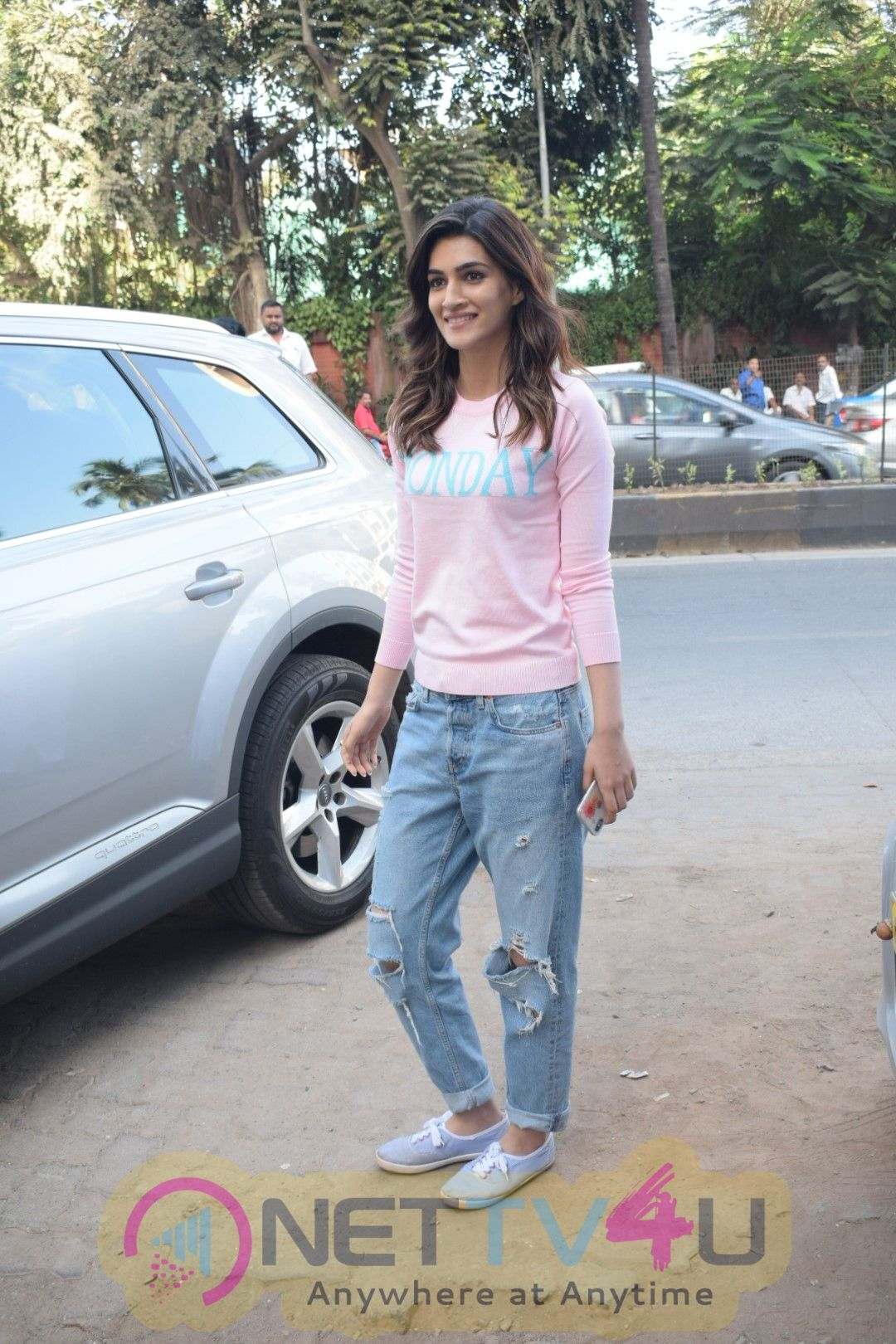 Kriti Sanon And Nupur Sanon Spotted At Juhu For Shoot Of Miss Malini Show