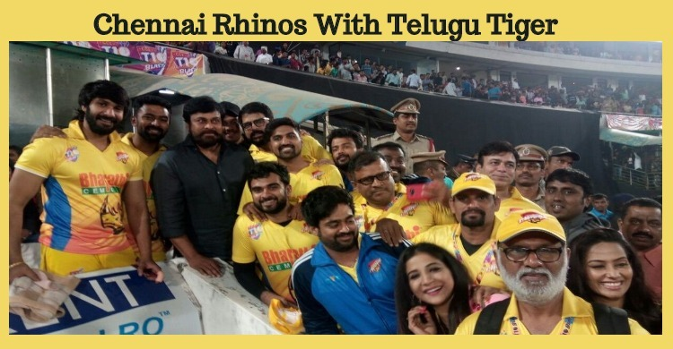 Chennai Rhinos With Chiru In Hyderabad!