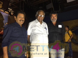 Veteran Filmmaker SP Muthuraman Surprise Visit To Dharma Prabhu Shooting Spot Pics Tamil Gallery