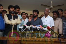 Director Cheran against To Tamil Film Producers Council President Vishal Press Meet Pics Tamil Gallery