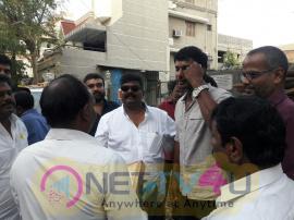 Stills Of Actor Vishal Group At Vadapalani