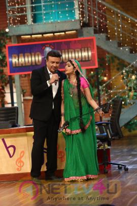 Anu Malik, Altaf Raja And Raveena Tandon On The Set The Drama Company Stills