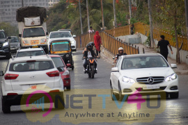 Harshvardhan Kapoor With Taapsee Pannu Riding Bike Promotion Stills