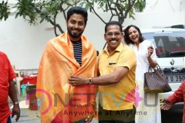 Actor Aari Celebrate His Birthday At Aleka Movie Team With Coconuts