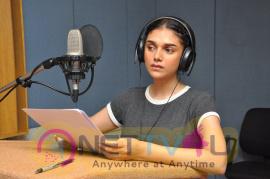 Actress Aditi Rao Hydari Dubbing At Sammohanam Movie Pics