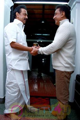 Mr Kamal Haasan's Meeting With DMK Chief M Karunanidhi And MK Stalin Pics