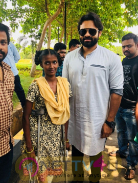 Actor Sai Dharam Tej Meets Cancer Patient Bangaramma Exclusive Images  Telugu Gallery