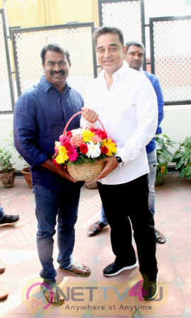 Kamal Haasan's Meeting With  Naam Tamilar Katchi Founder Seeman Pics Tamil Gallery