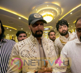 Actor Kiccha Sudeep At Rishab Shetty's Marriage Pics Kannada Gallery