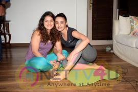 Surveen Chawla Doing Yoga On  World Yoga Day At Her Andheri House Hindi Gallery
