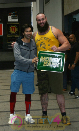 Varun Dhawan With WWE Superstar Braun Strowman At Gym In Khar Best Images  Hindi Gallery