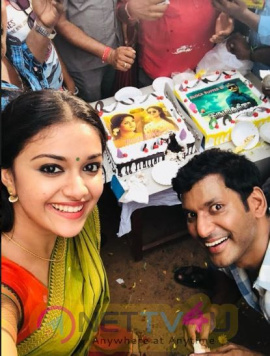 Sandakozhi 2 Team Celebrates Actor Vishals Blockbuster Movie Irumbuthirai For tremendous box office collection Best Images Tamil