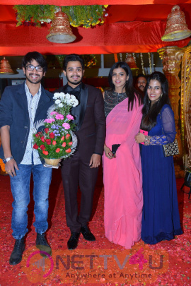 Producer Krishna Reddy Son Bhuvan Sagar Sindhusha Wedding Reception Photos Telugu Gallery