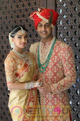 TSR 's Grand Son Keshav And Veena Wedding Stills
