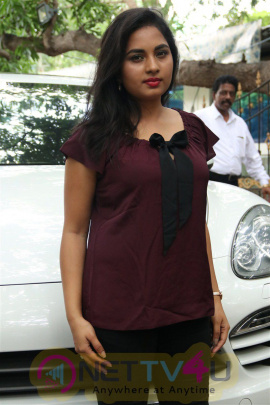 Actress Srushti Dange Stylish Images  At Dharma Durai Press Meet