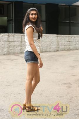 Actress Vyoma Nandi Stills In White T-Shirt Telugu Gallery