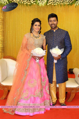 actor shanthanu and anchor keerthy wedding reception photos