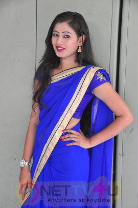actress shanti priya in blue saree photo gallery