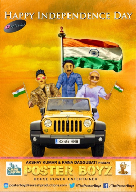 akshay kumar a rana daggubati present telugu film  poster boyz  independence day poster