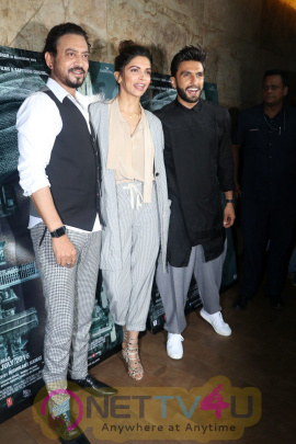 Bollywood Actors Irrfan Khan, Deepika Padukone And Ranveer Singh During The Screening Of Film Madaari In Mumbai Photos