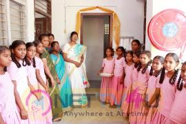 hero karthi stills at guntur subbiah pillai girls higher secondary school