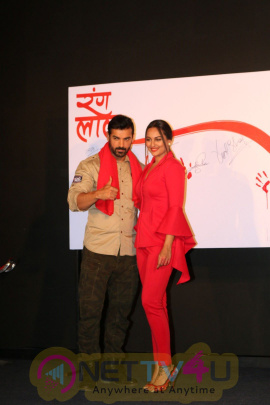 John Abraham & Sonakshi Sinha At Launch Of New Song Rang Laal From Film Force 2 Attractive Photos Hindi Gallery