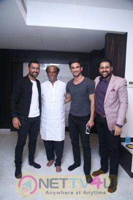 MS Dhoni And Sushant Singh Rajput Meet Superstar Rajinikanth Stills